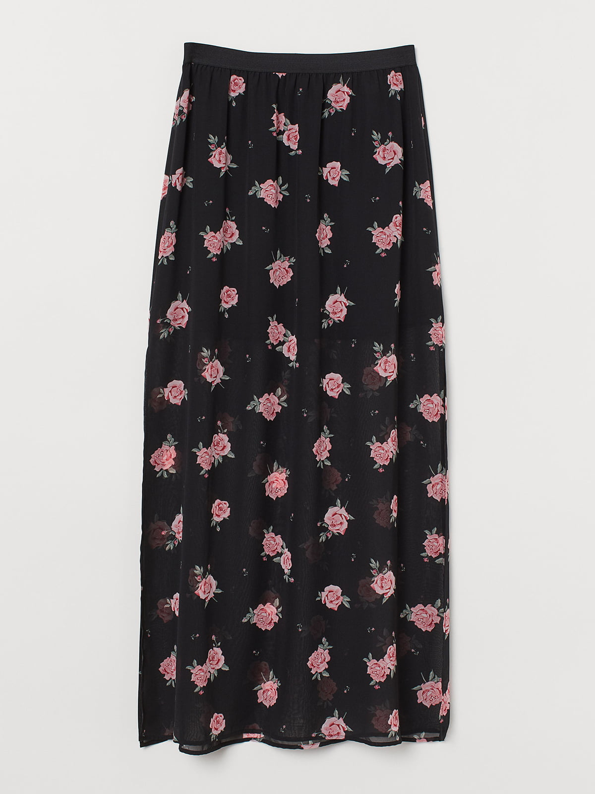 Юбка черная в цветочный принт | 5487909