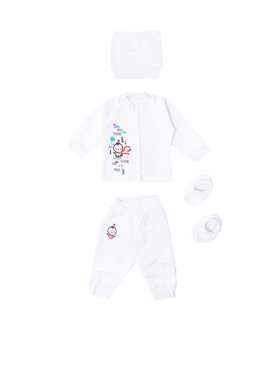 Комплект: сорочечка, повзунки, чепчик і пінетки | 5490086