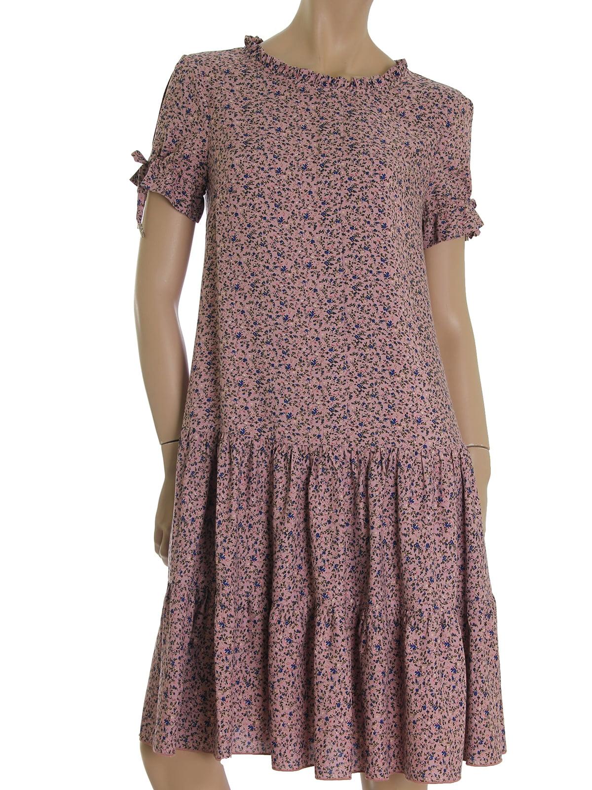 Платье цвета корицы в мелкий принт | 5491235