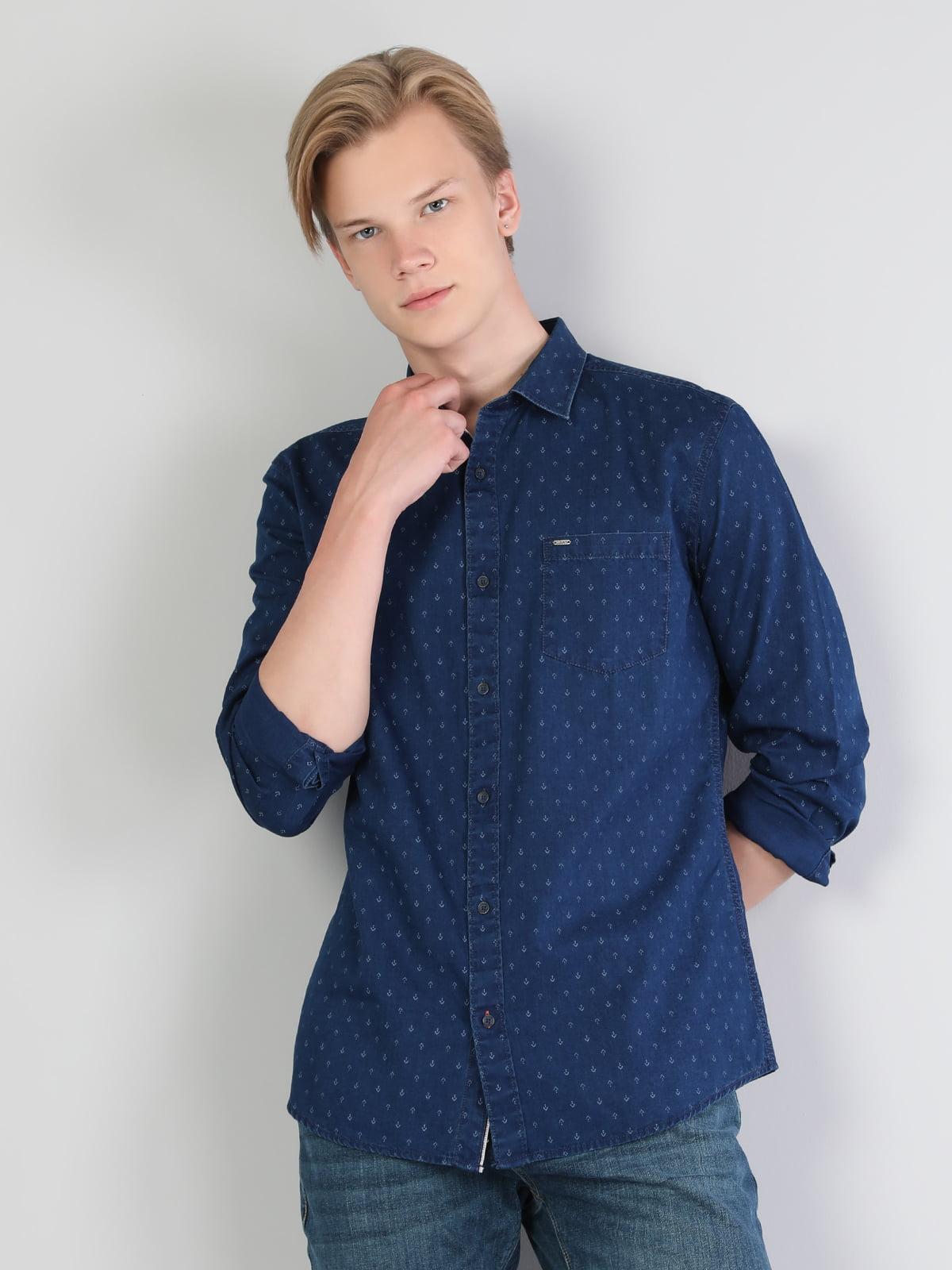 Сорочка синя з принтом | 5494081