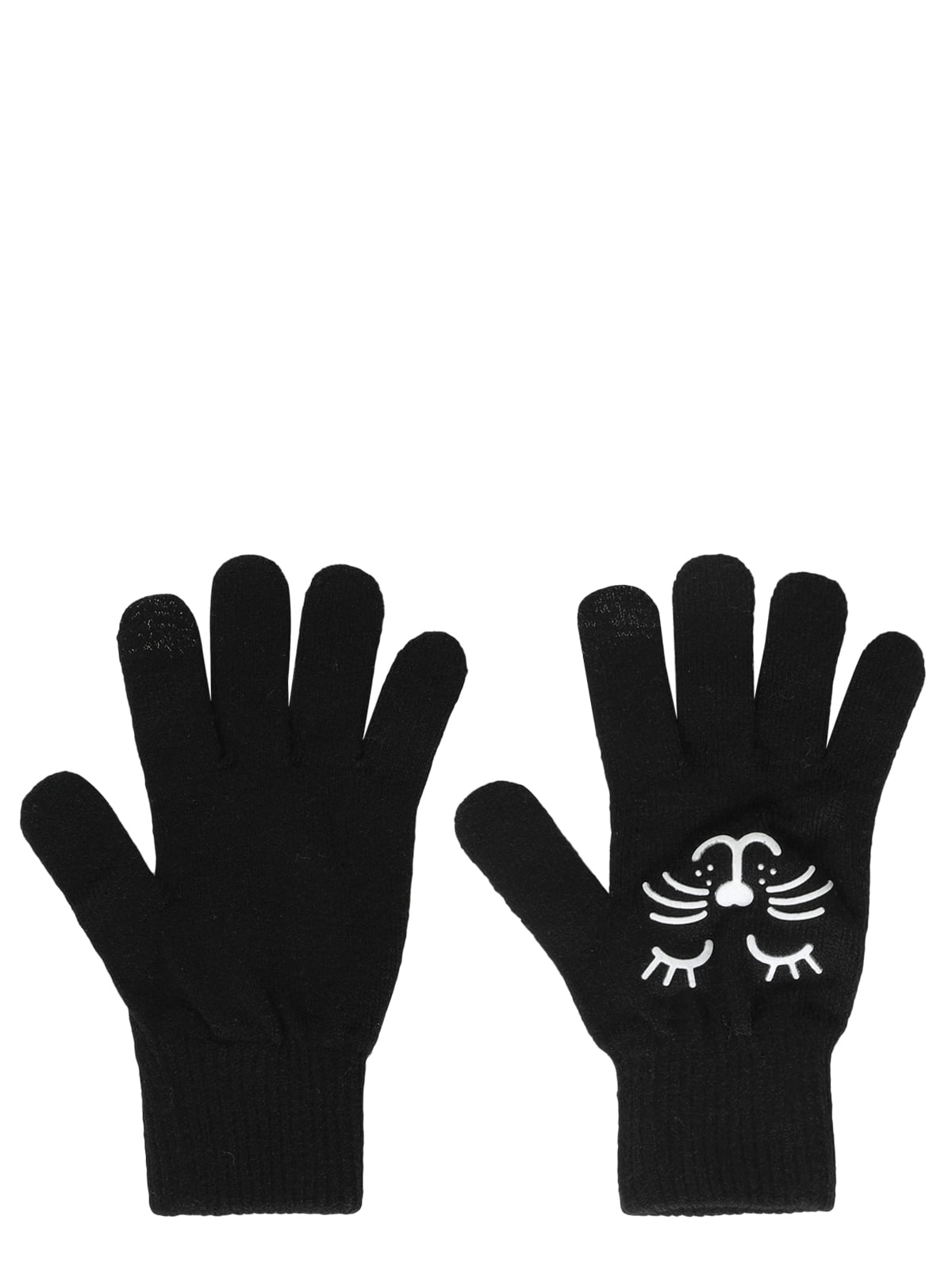Рукавички чорні з принтом | 5494539