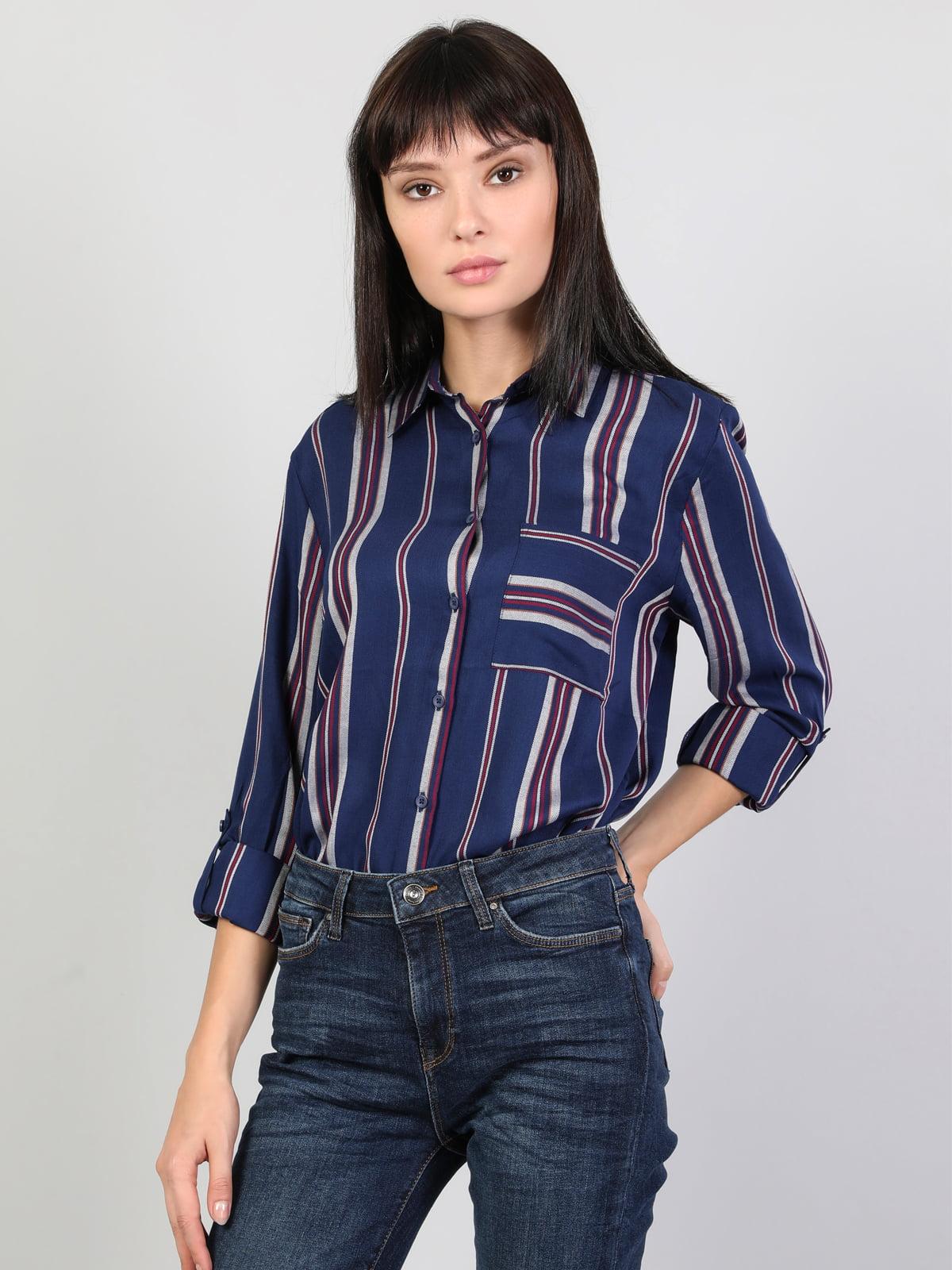 Рубашка синяя в полоску | 5494805