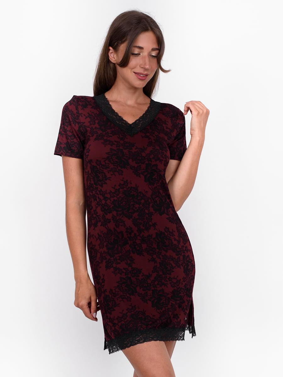 Платье бордовое с цветочным узором | 5495408