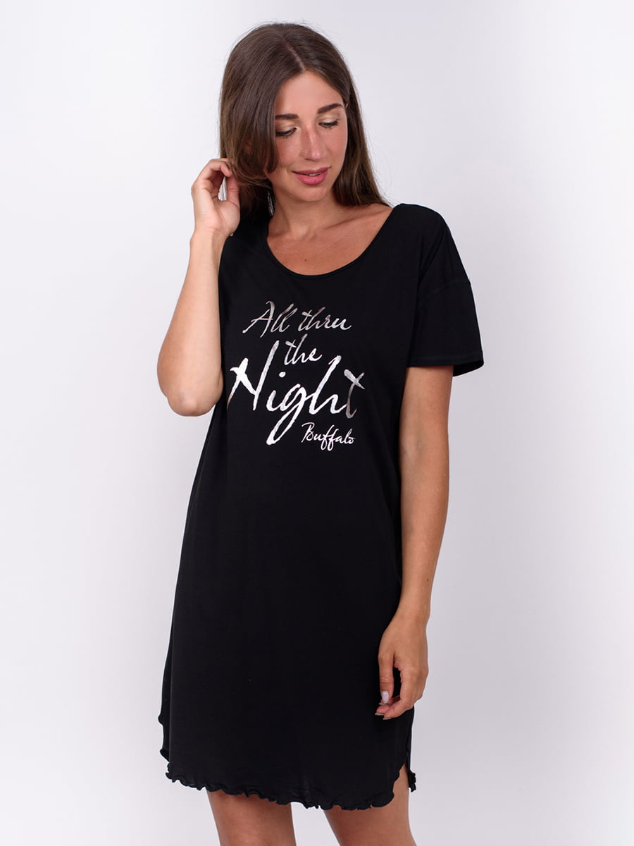Сукня чорна в принт | 5495453