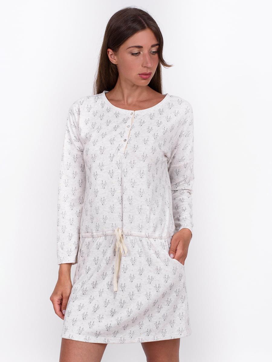 Сукня сіра з принтом | 5495547