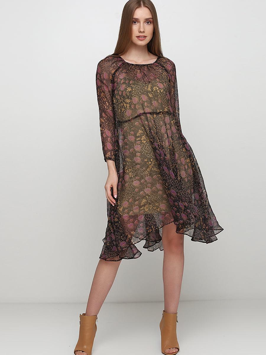 Платье черное с цветочным принтом | 5495611