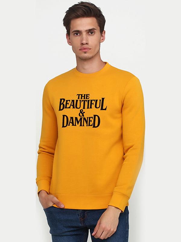 Свитшот желтый с принтом | 5495872