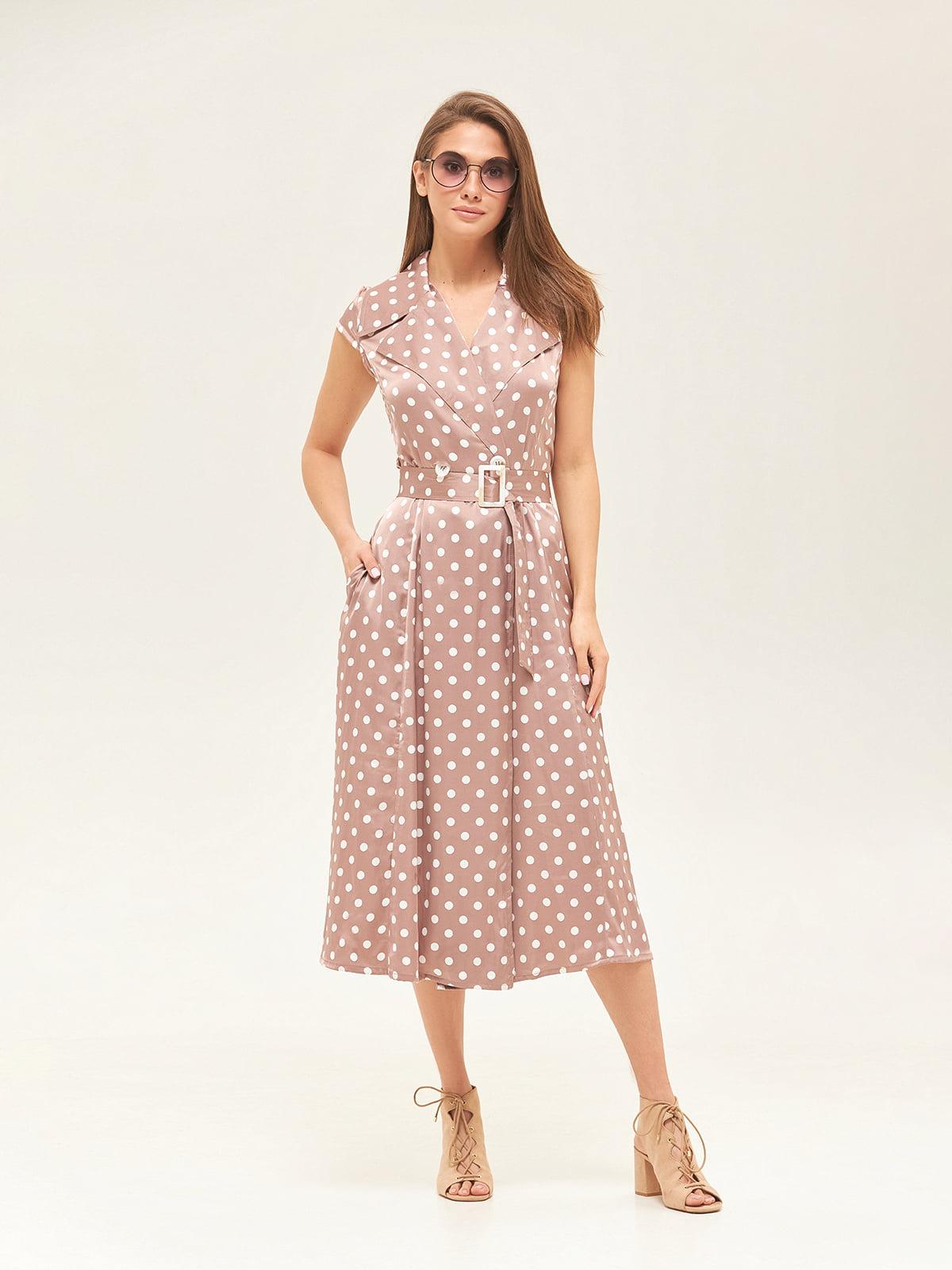 Платье цвета капучино в горошек | 5497519