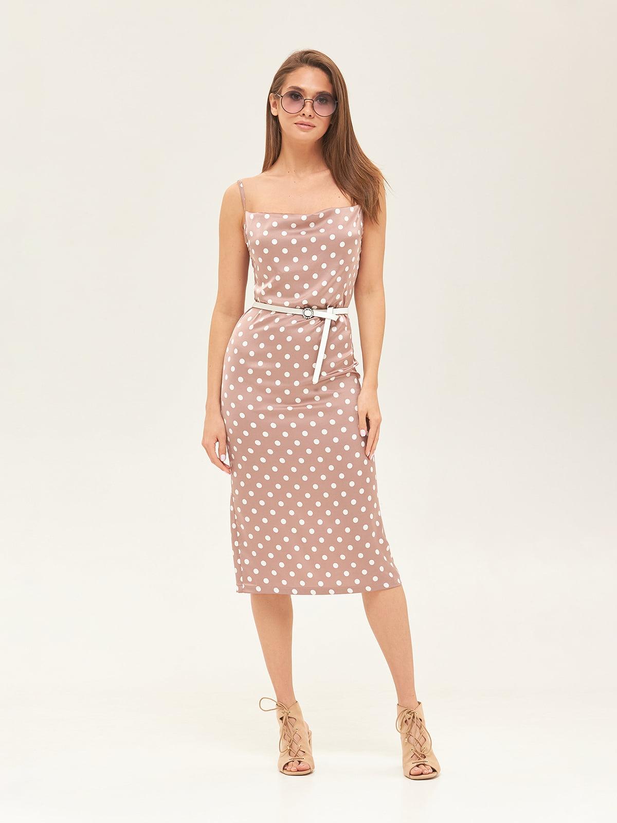 Сукня кольору капучино у горошок | 5497529