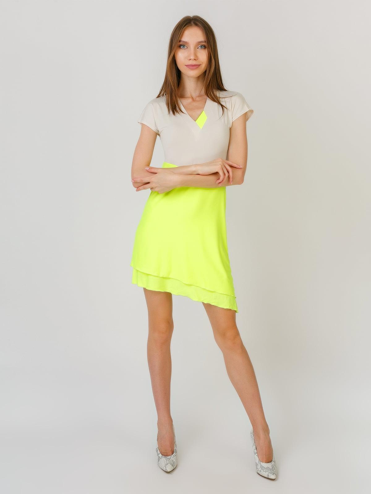 Платье бежево — лимонное | 5491829