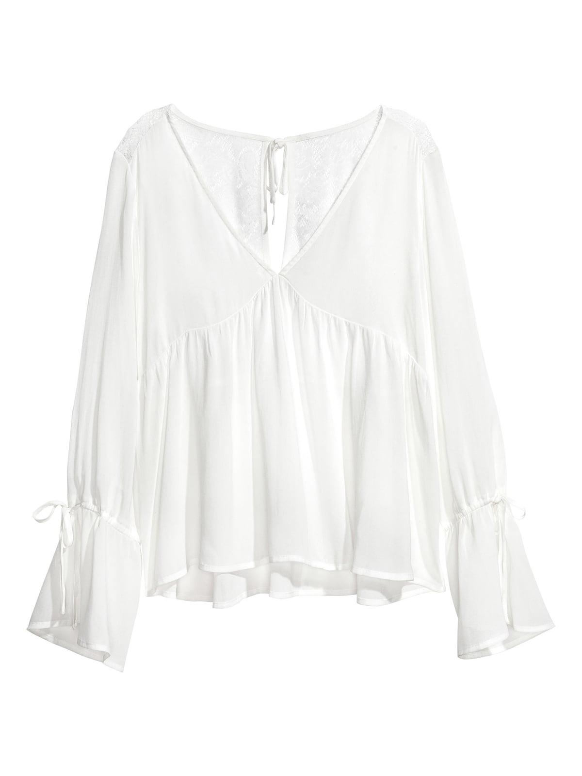 Блуза белого цвета  с кружевом   5500484