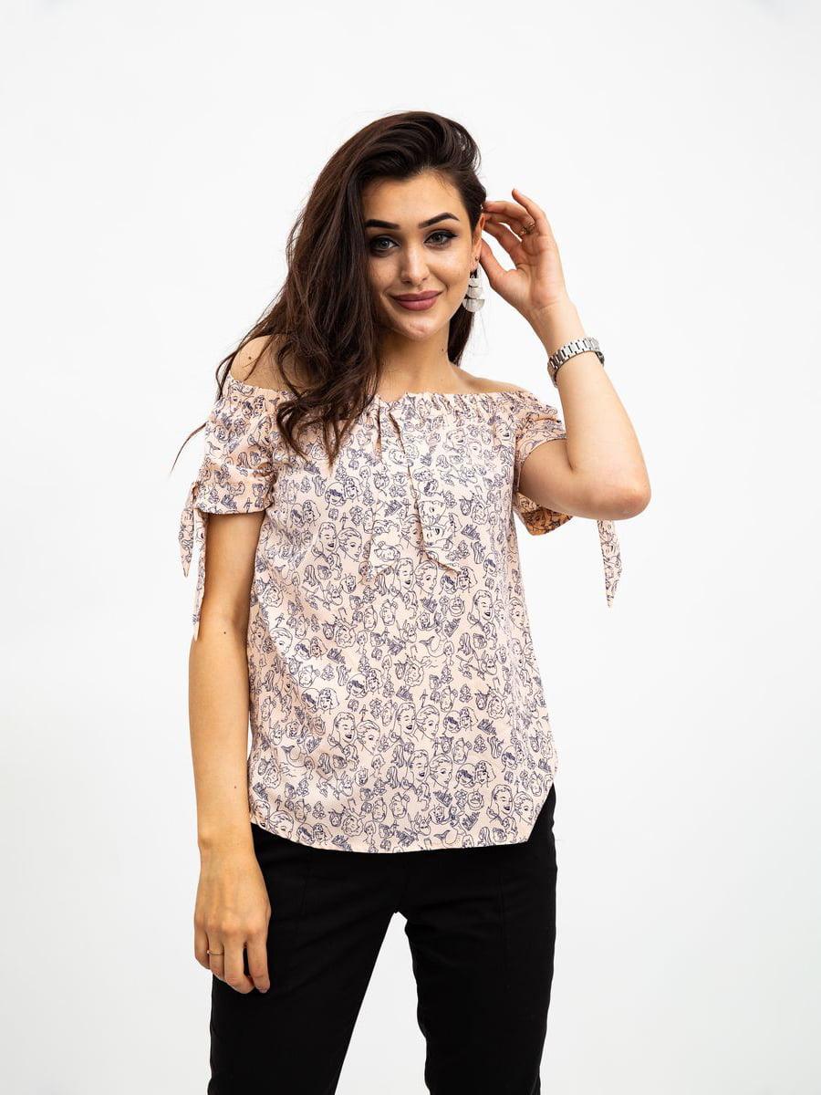 Блуза персикового цвета в принт | 5500907