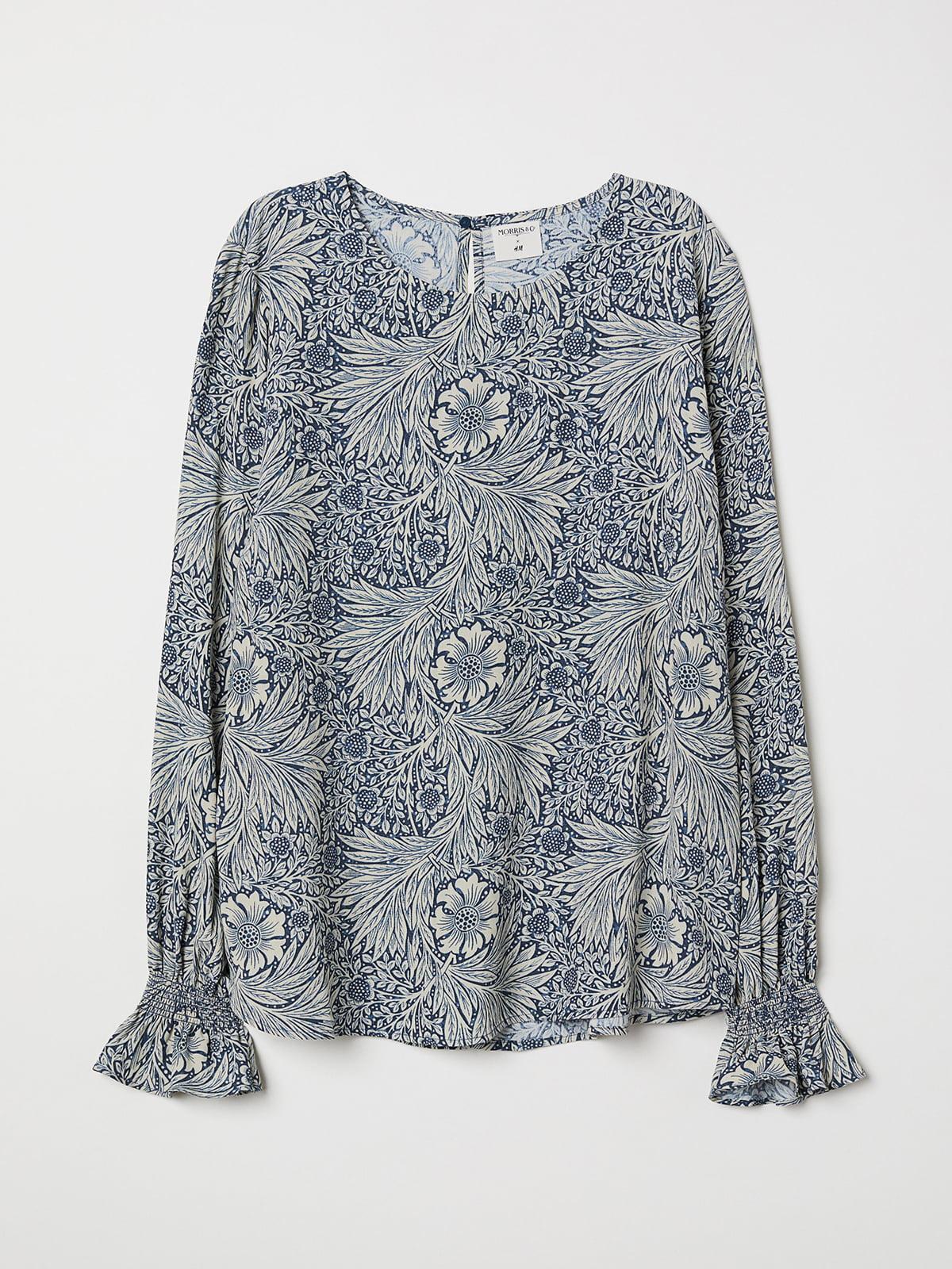 Блуза синяя в цветочный принт | 5501900