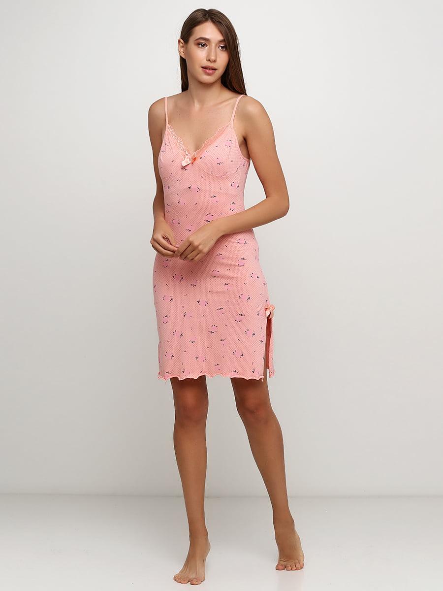 Рубашка ночная персикового цвета с принтом | 5484061
