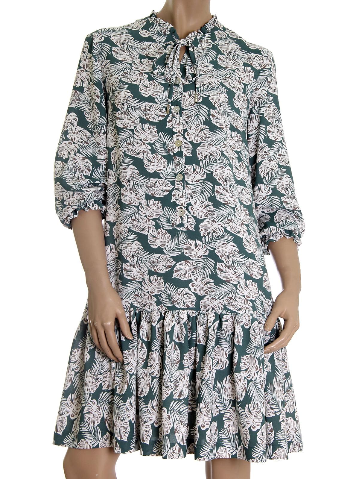 Платье зеленое в растительный принт | 5502870