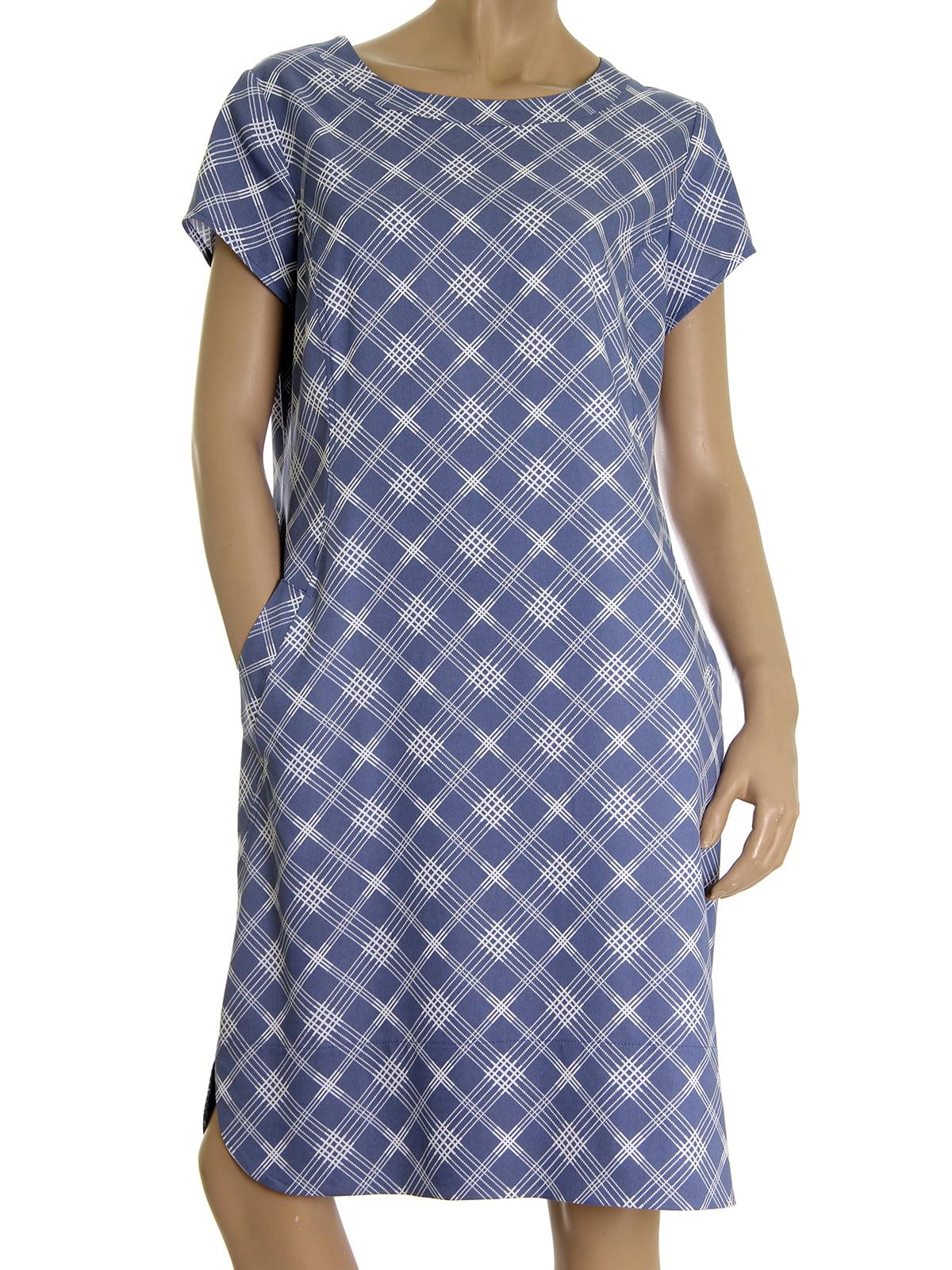 Платье синее в ромбы | 5502878