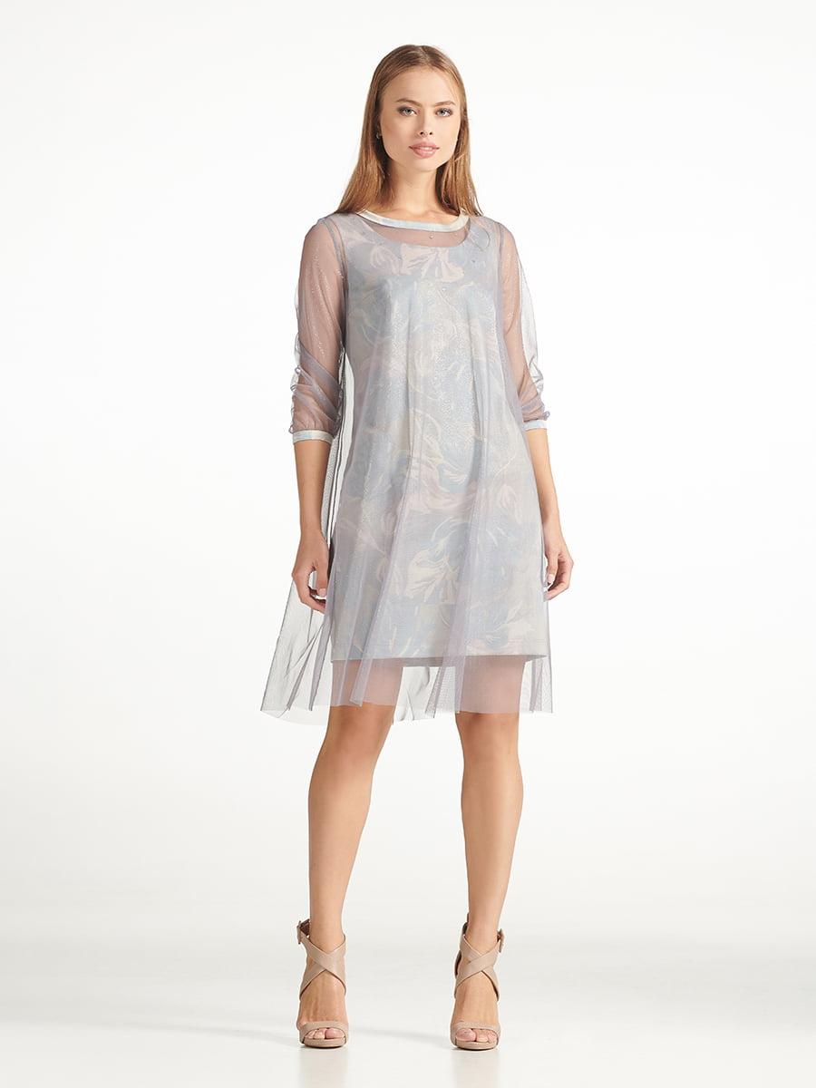Платье серое с принтом   5304214