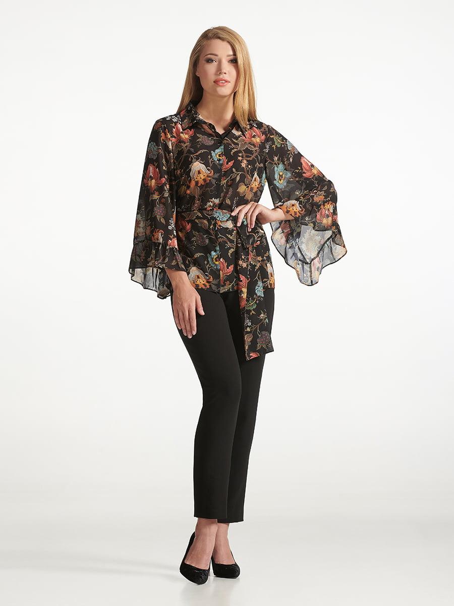 Блуза черная с принтом | 5343229