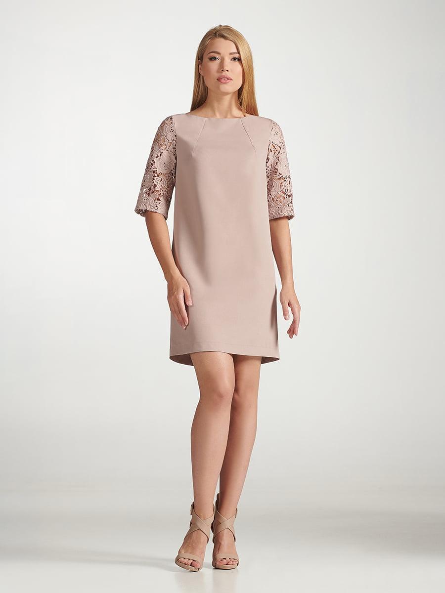 Платье коричневое с узором | 5343278