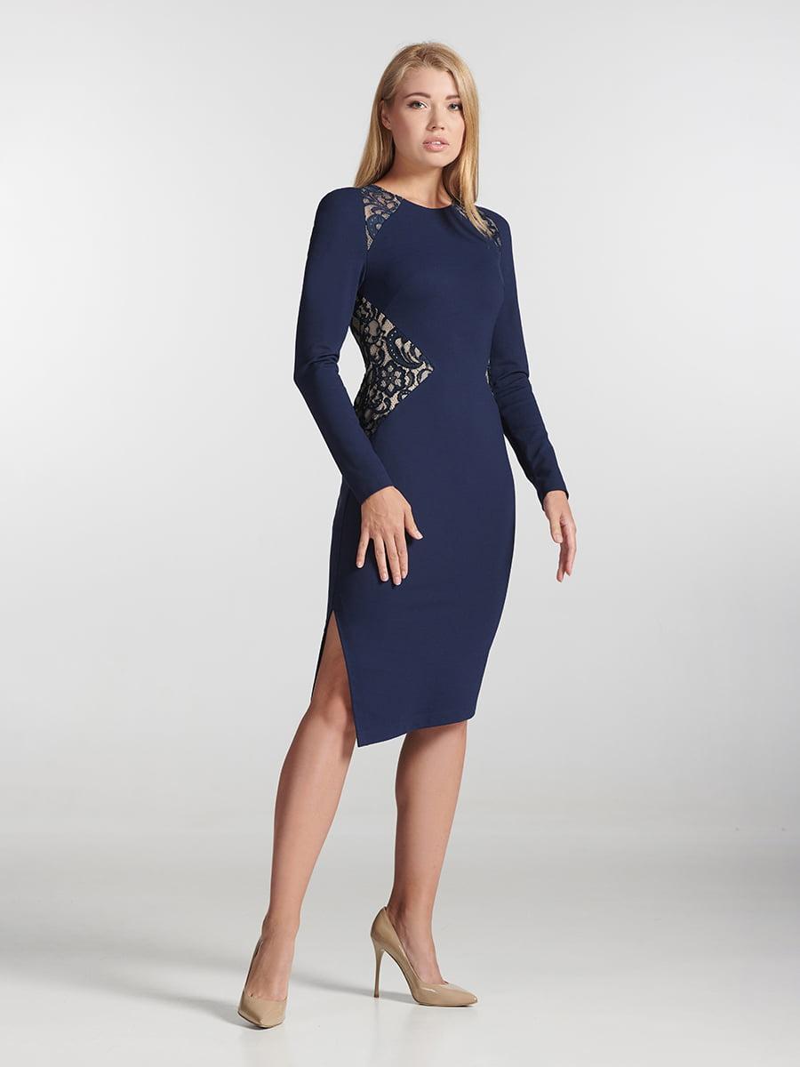 Платье синее с узором   5343309