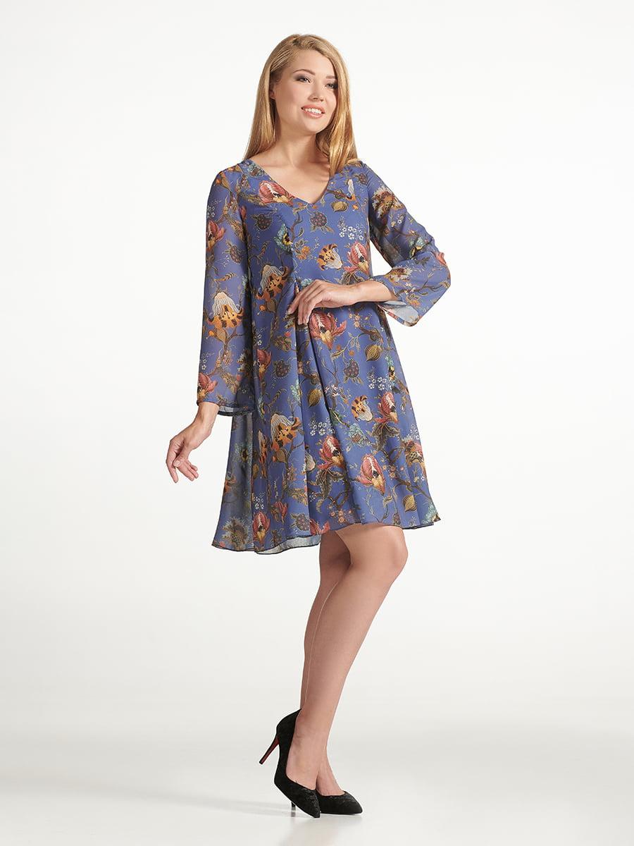 Платье синее с цветочным принтом   5441378