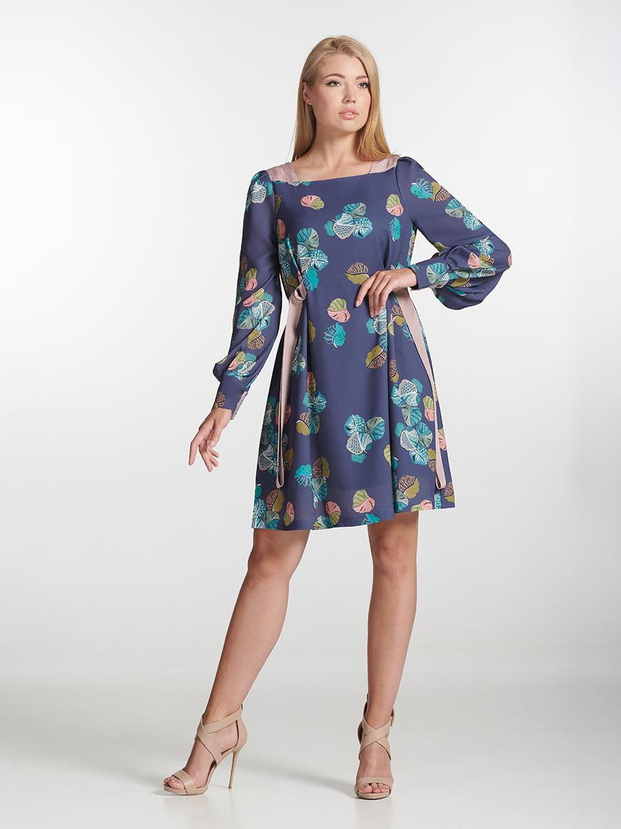Платье фиолетовое с принтом   5441384