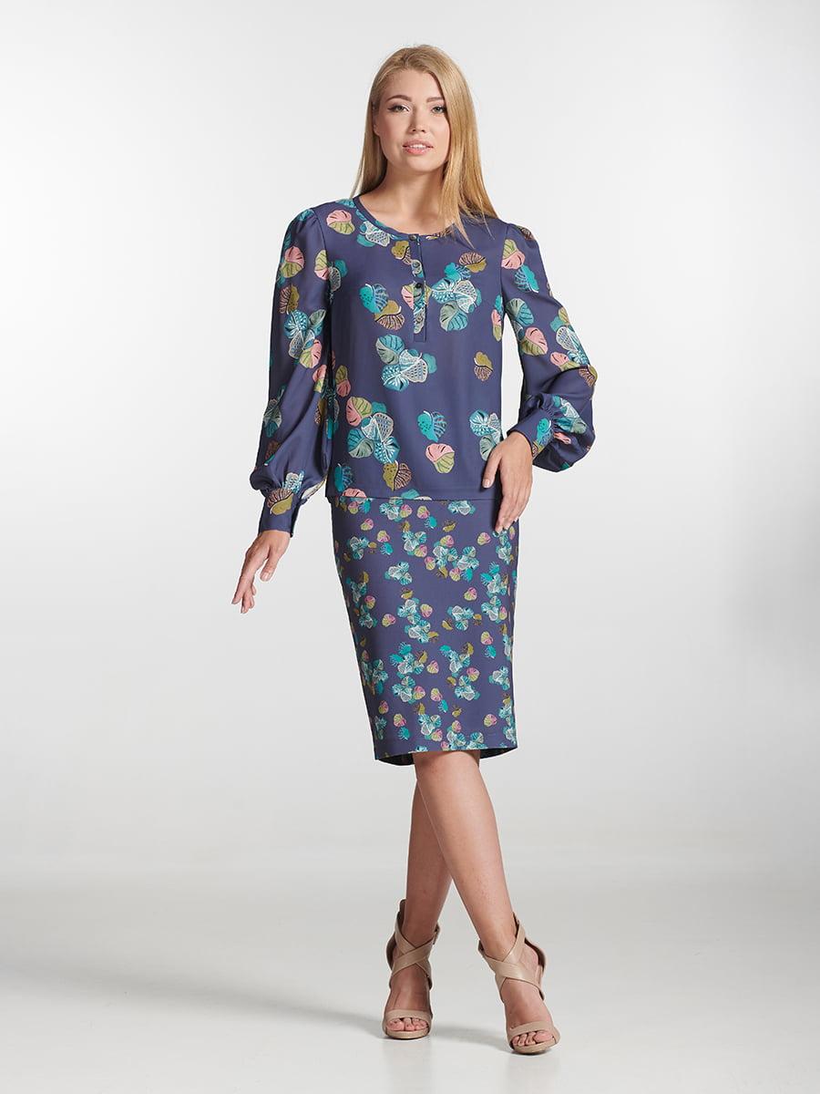 Спідниця фіолетова з принтом   5502606