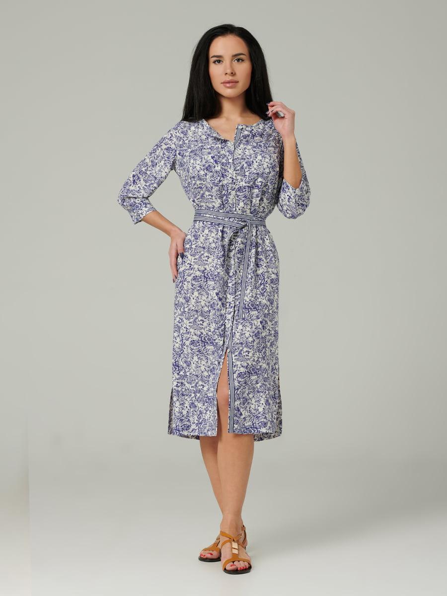 Платье синее с принтом | 5343268