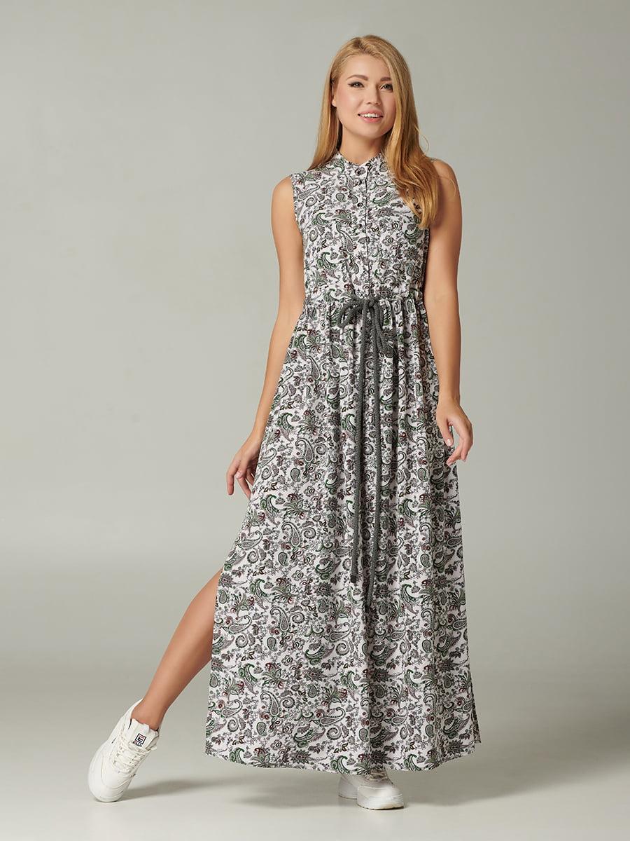 Платье молочного цвета с принтом | 5343286