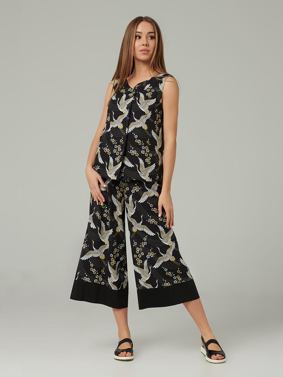 Блуза черная с принтом | 5441266