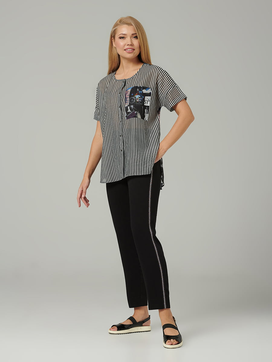 Блуза черная в полоску и принт | 5441287