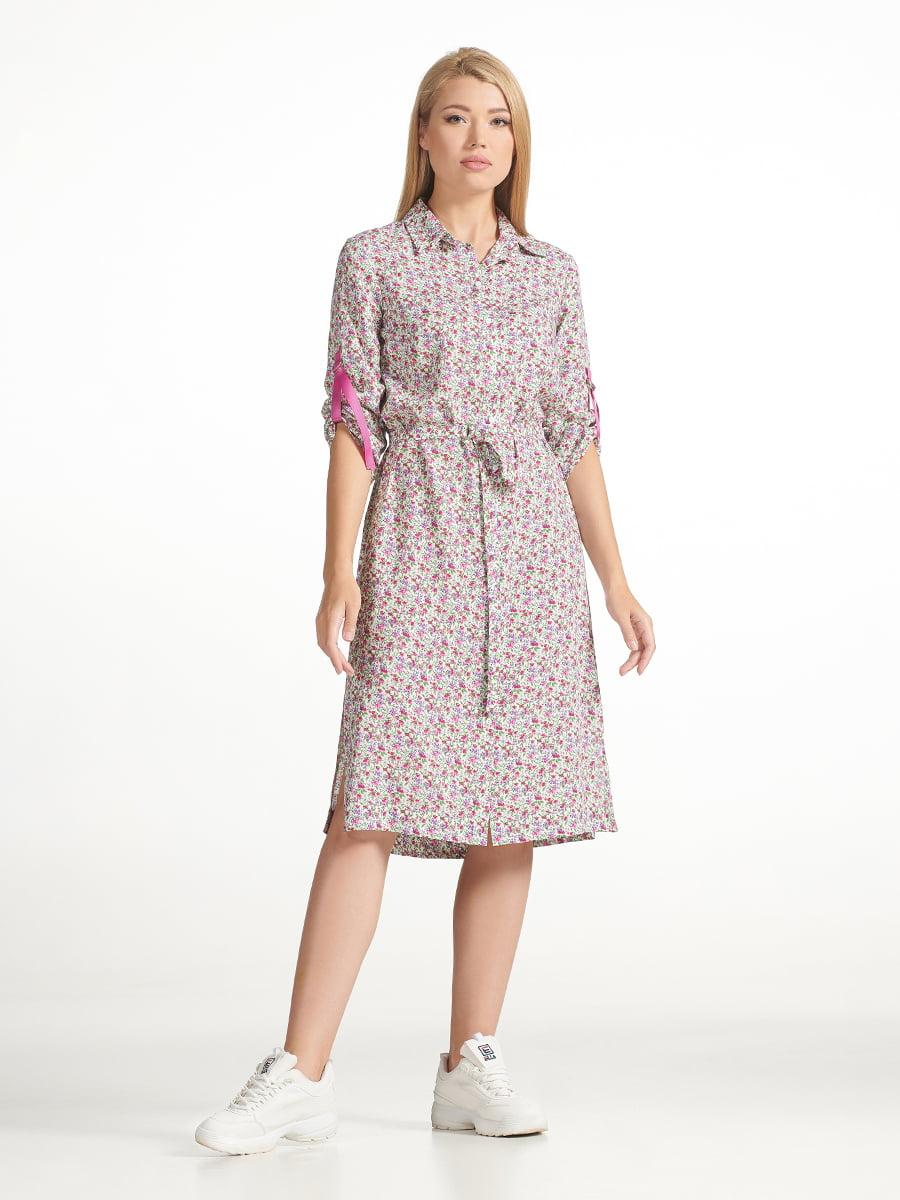 Платье молочного цвета с принтом | 5441318