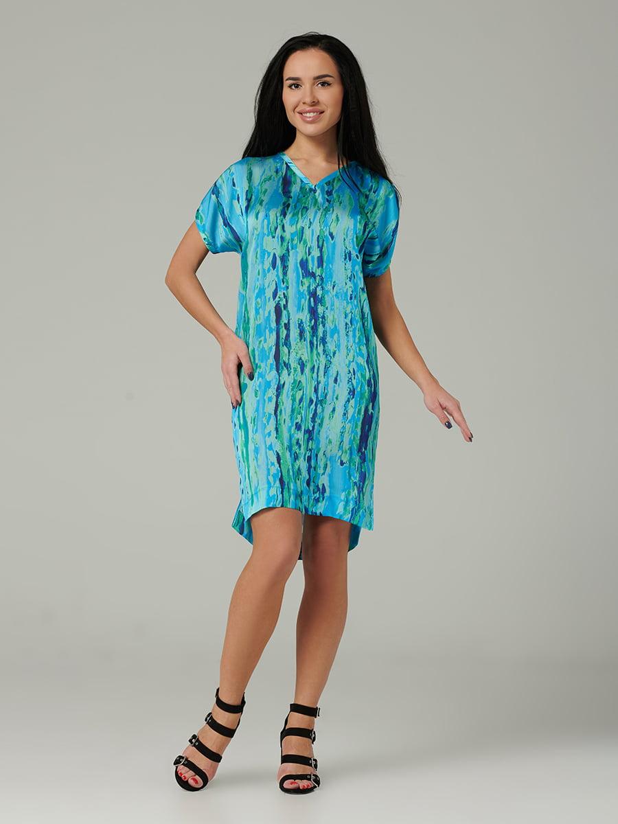 Платье голубое с размытым принтом | 5441340