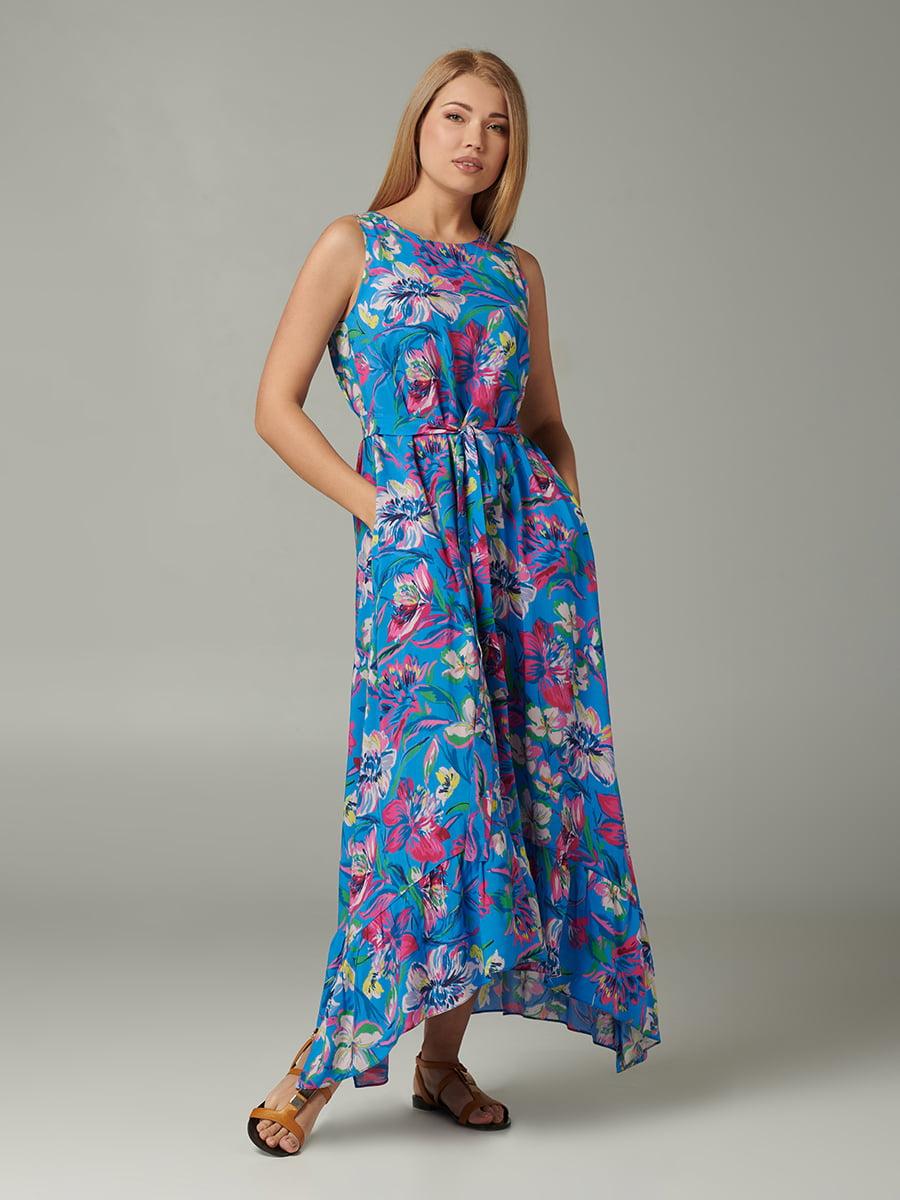 Платье синее с цветочным принтом | 5441371