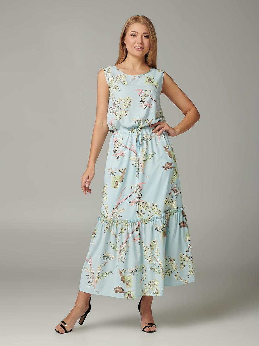 Платье бирюзовое с принтом | 5441375