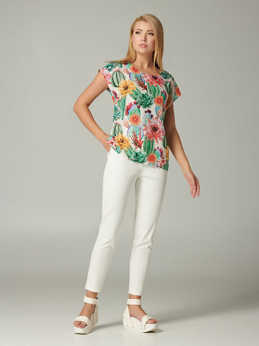 Блуза зеленая с цветочным принтом   5483710