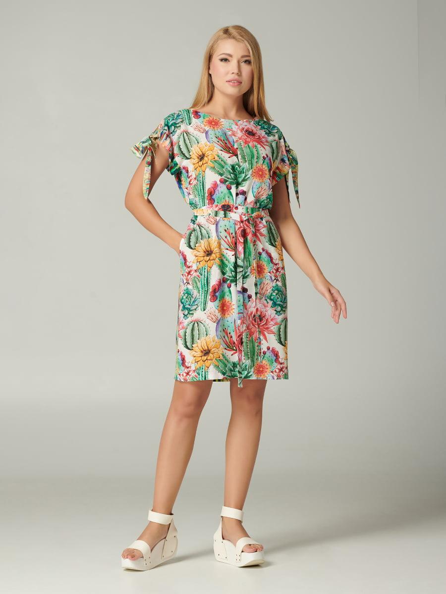 Платье зеленое с цветочным принтом | 5483713