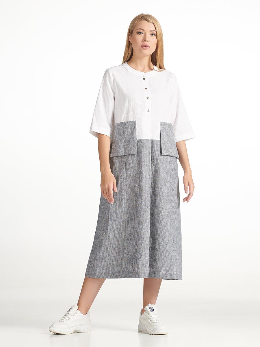 Платье серо-белое | 5502735