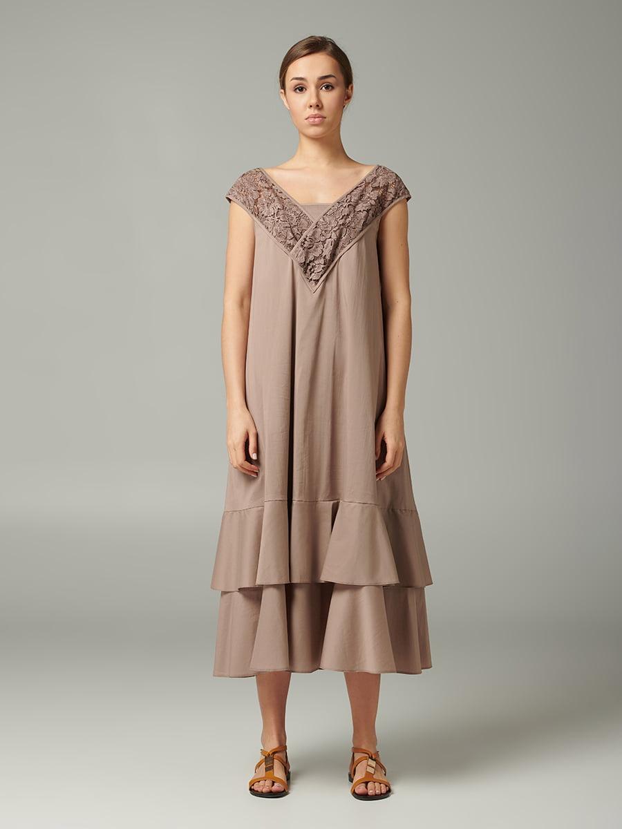 Платье коричневое с цветочным узором | 5502741