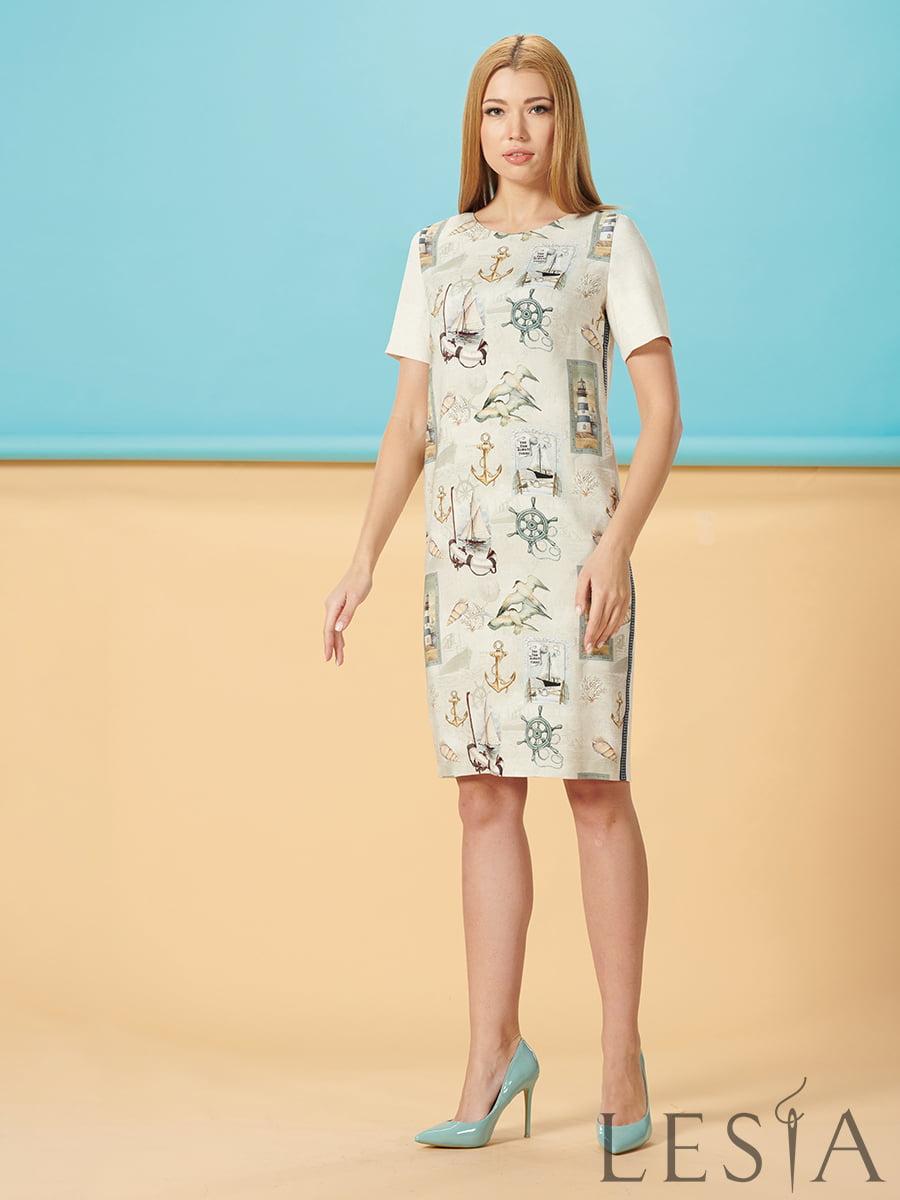 Платье молочного цвета с принтом | 5304218