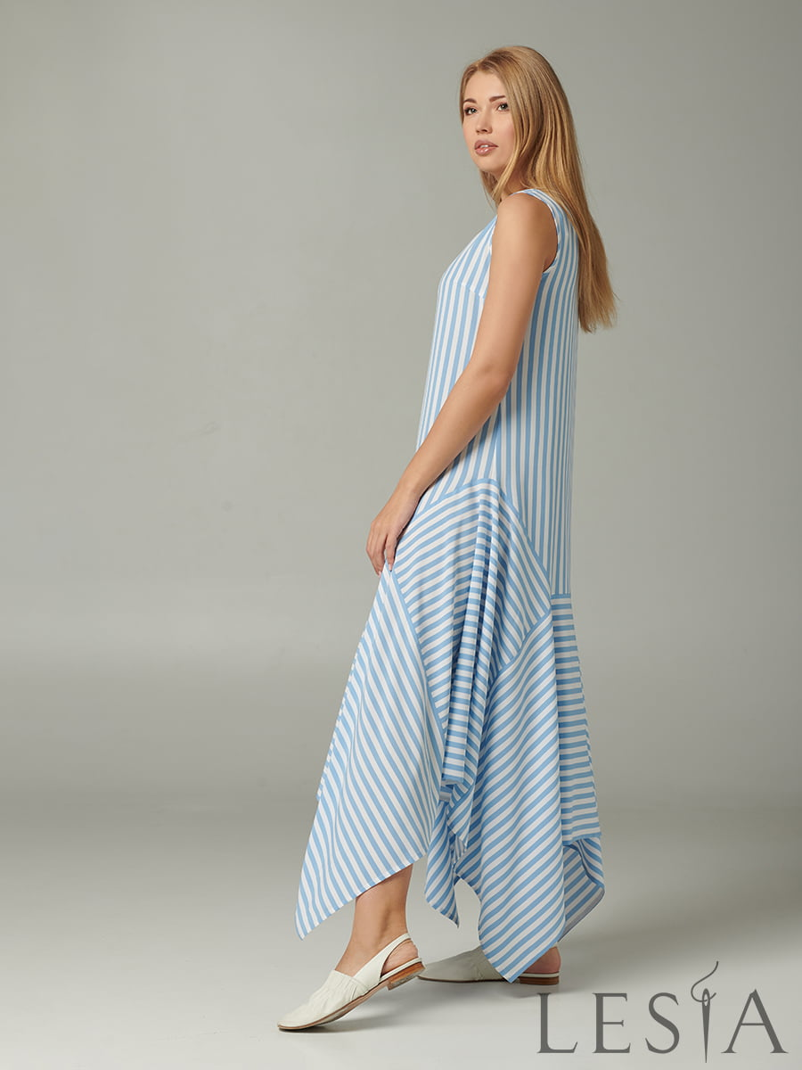 Платье голубое в полоску | 5441376