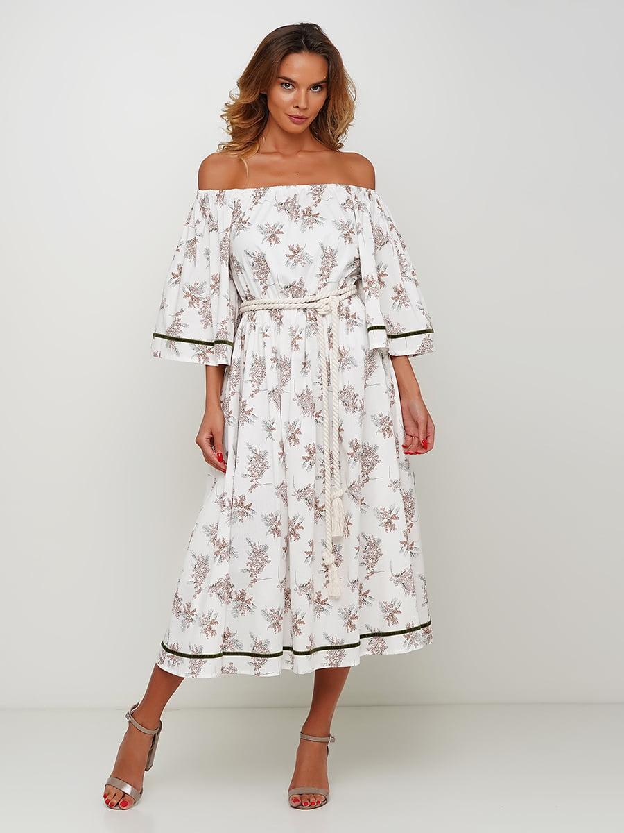 Платье белое с принтом | 5504157