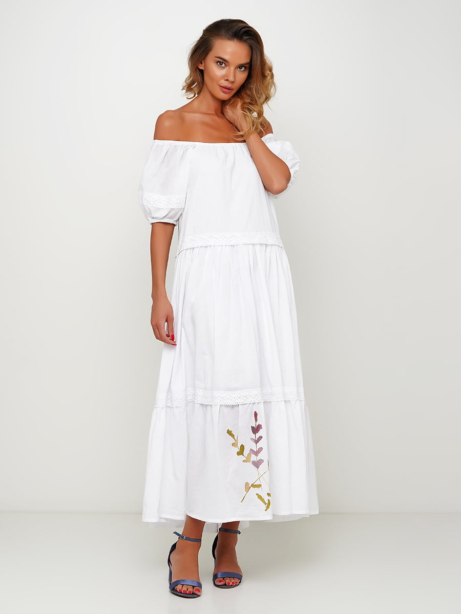 Сукня біла з принтом | 5504163