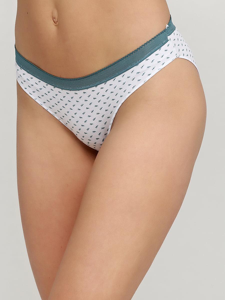 Труси біло-зеленого кольору з принтом | 5486888