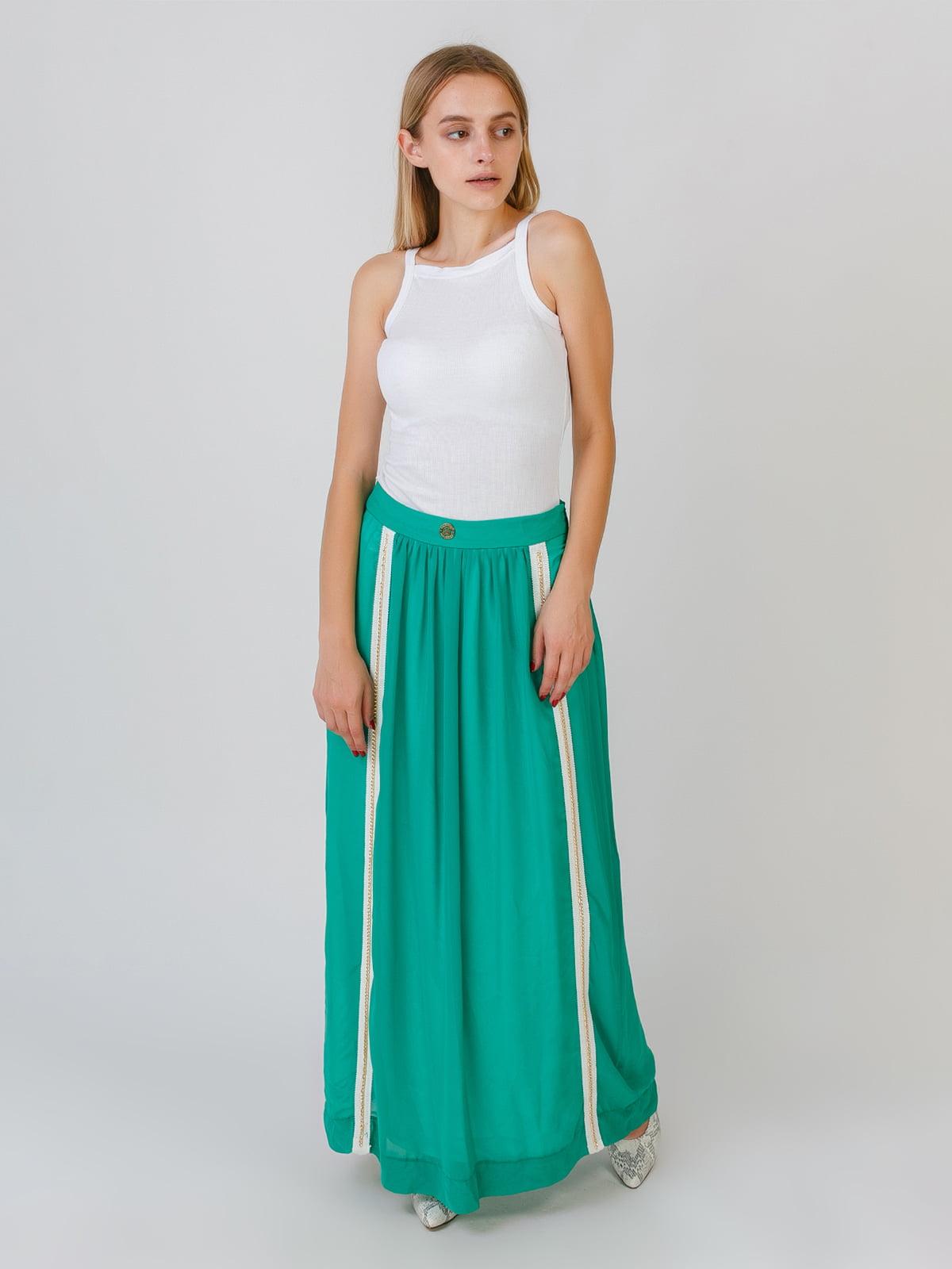 Спідниця зелена з смужками | 5500404