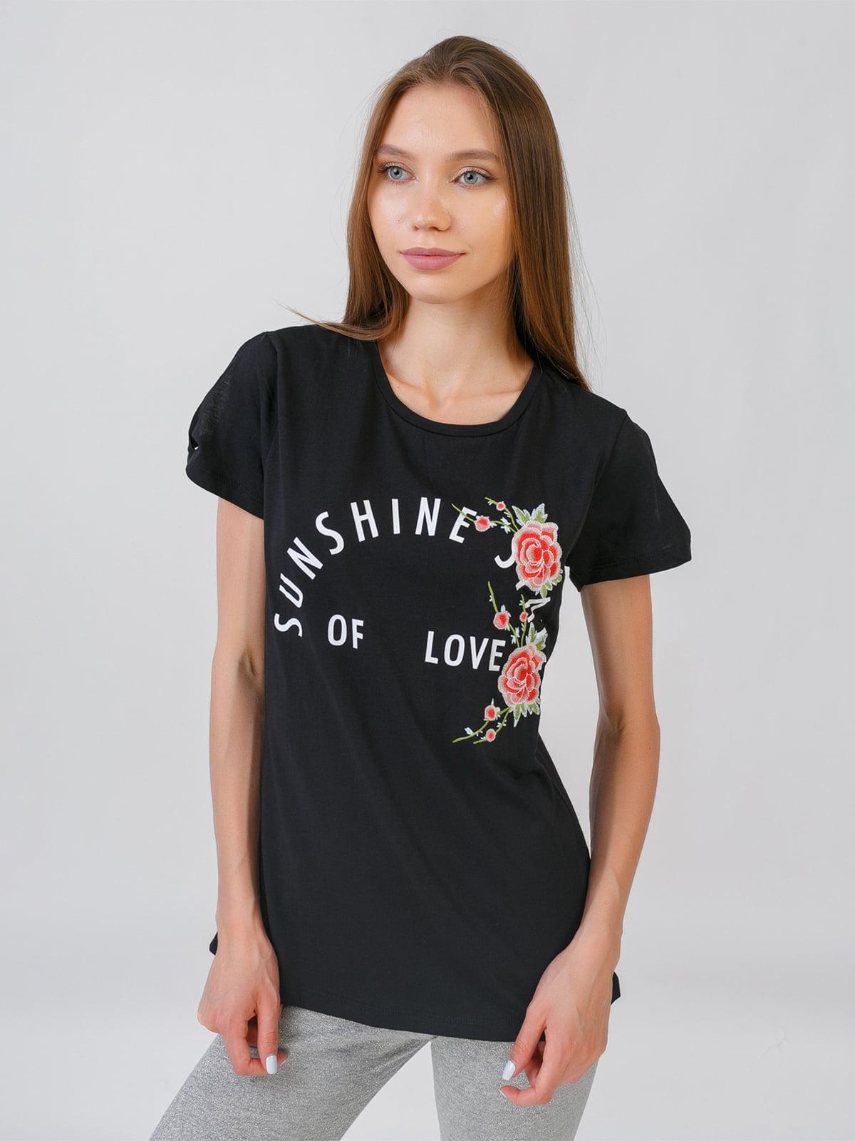 Блуза чорна з принтом | 5510852