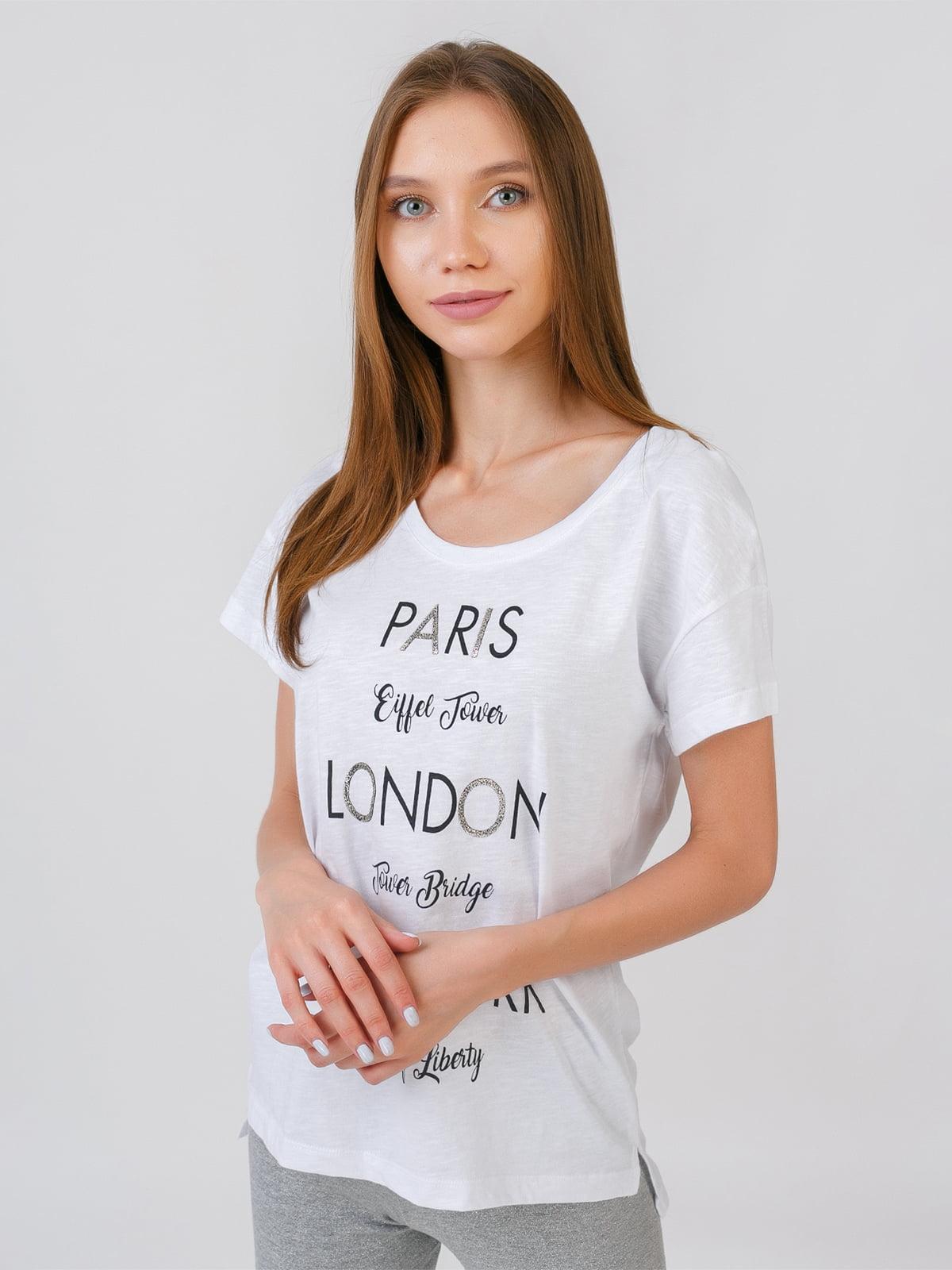 Блуза белая с принтом | 5510862