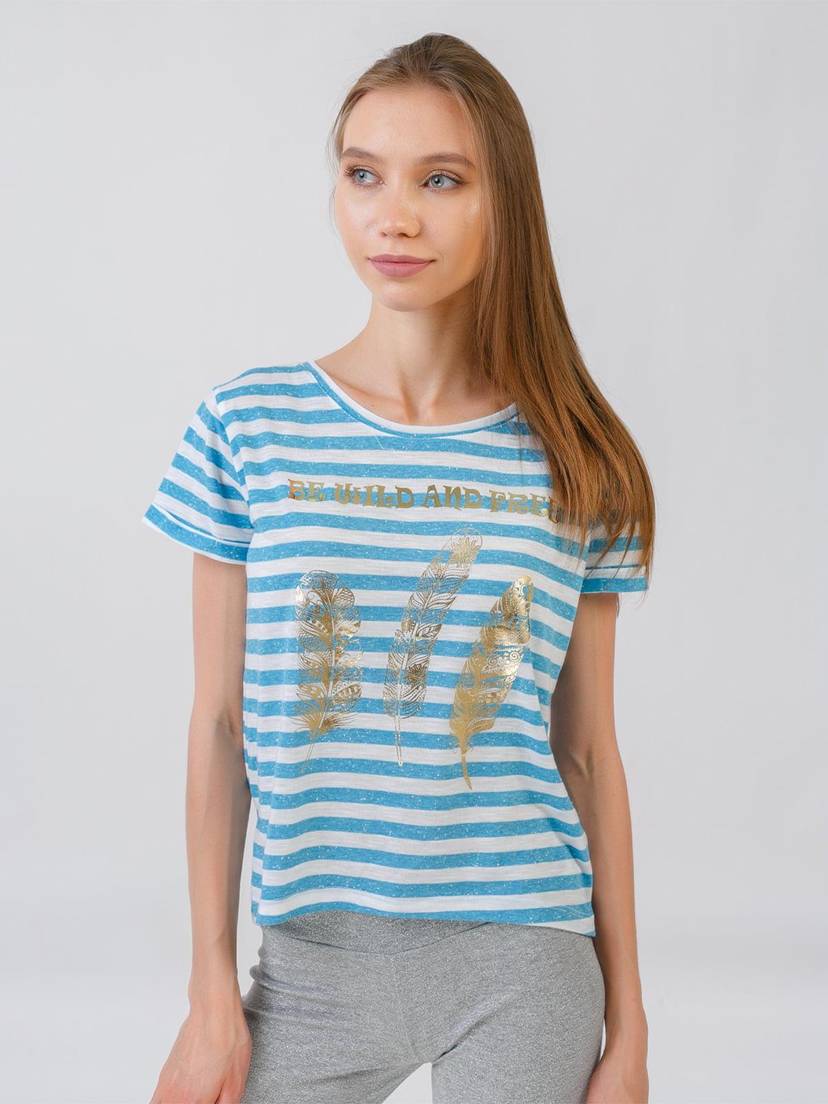 Блуза блакитна у смужку з принтом | 5510849