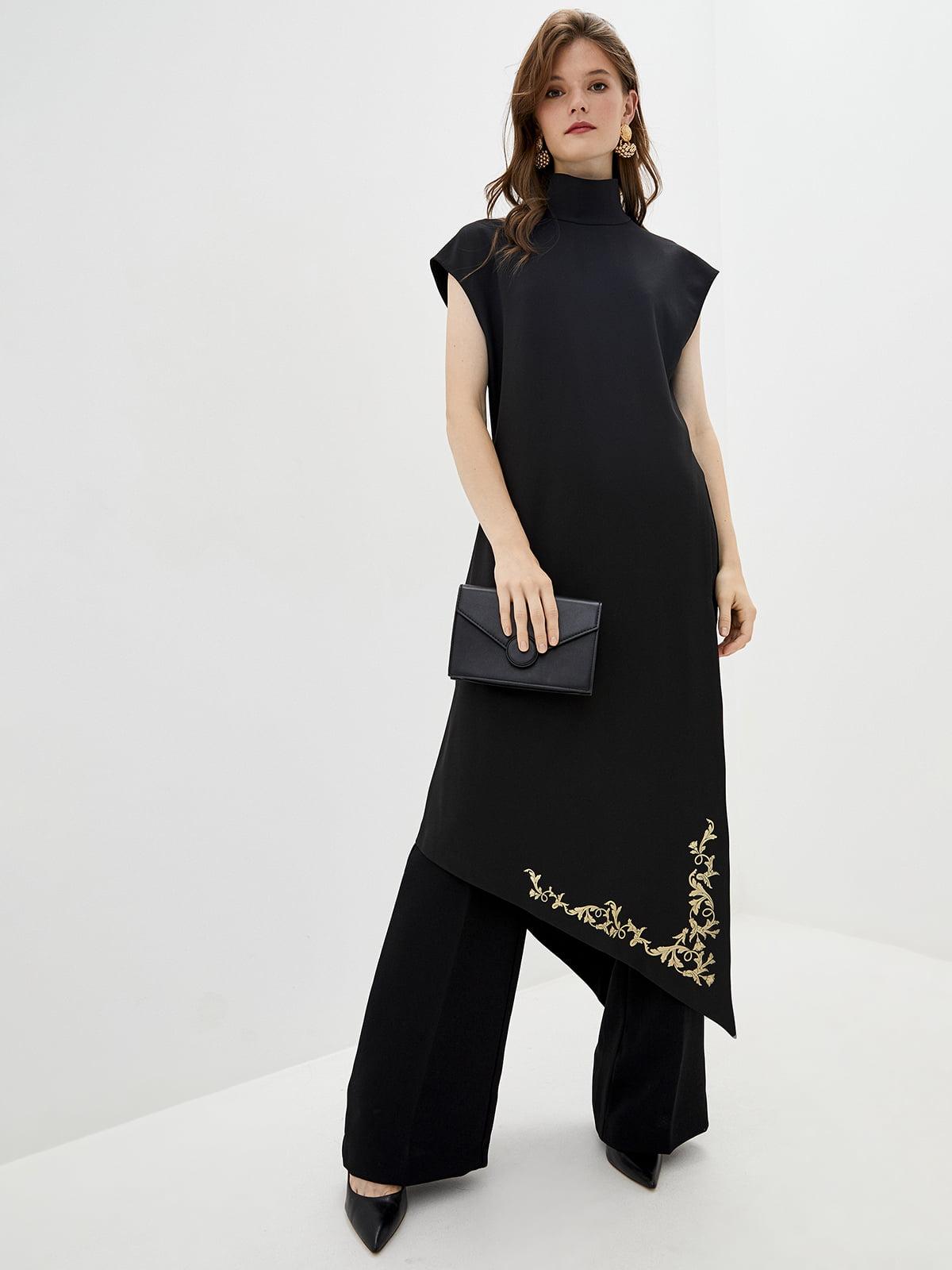 Блуза-кардиган черно-золотистого цвета с декором | 5514346