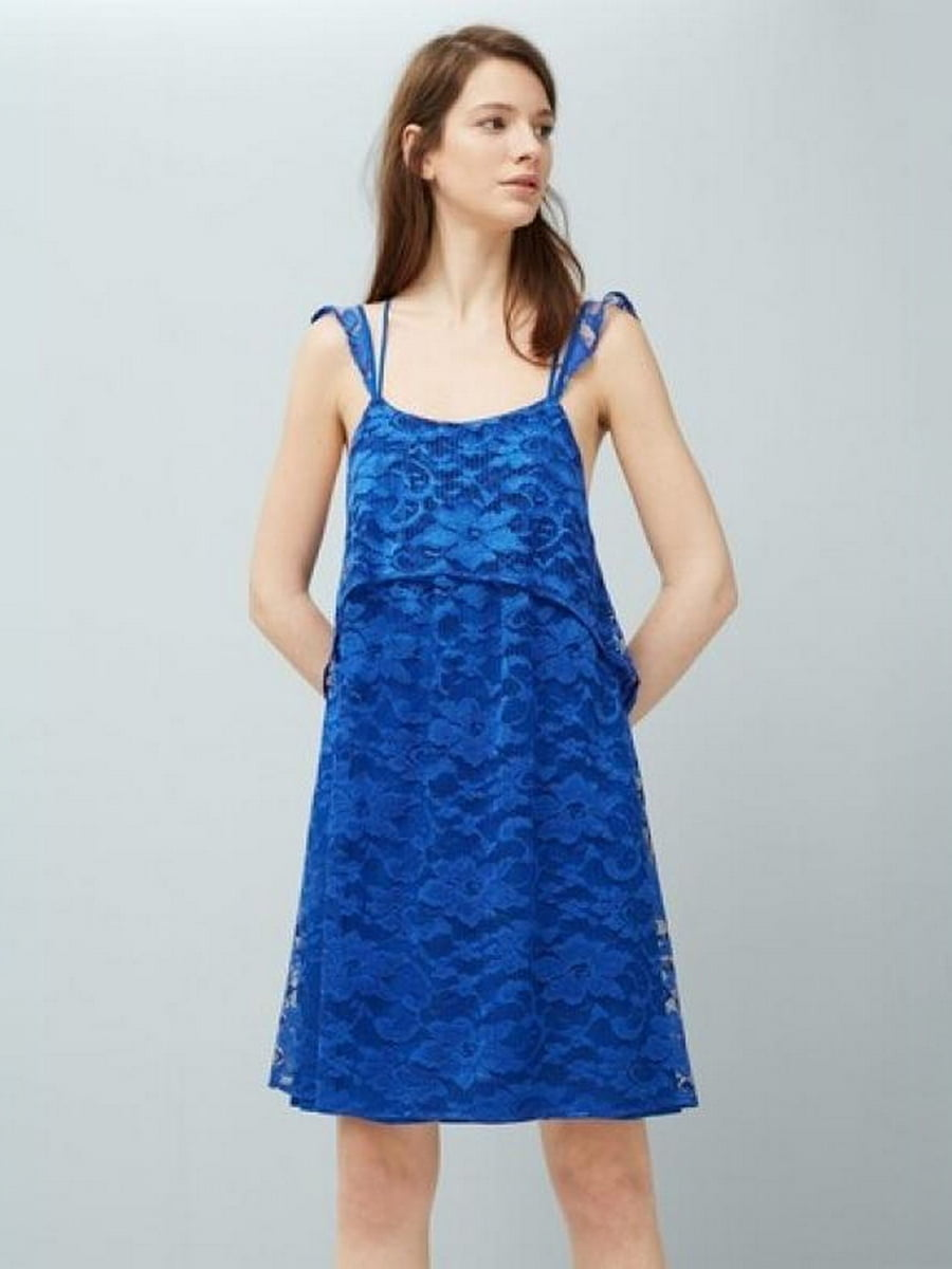 Платье синее в цветочный узор   5516786